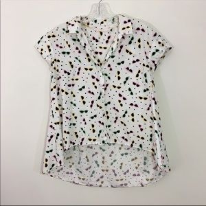 ZARA | Sunglasses Print High / Low Hem Top Sz. M